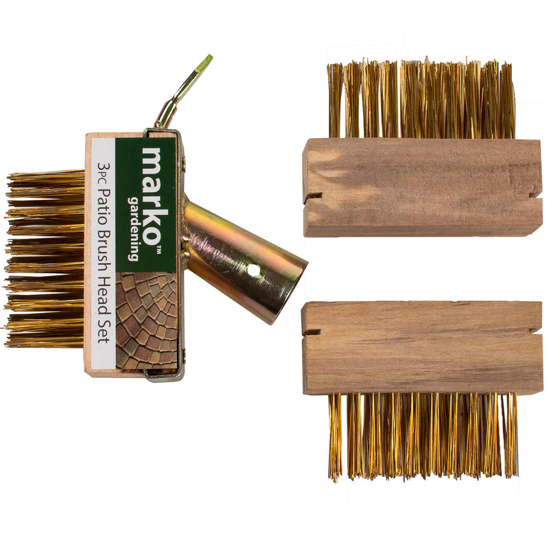 3PC Patio Weed Brush Head Set