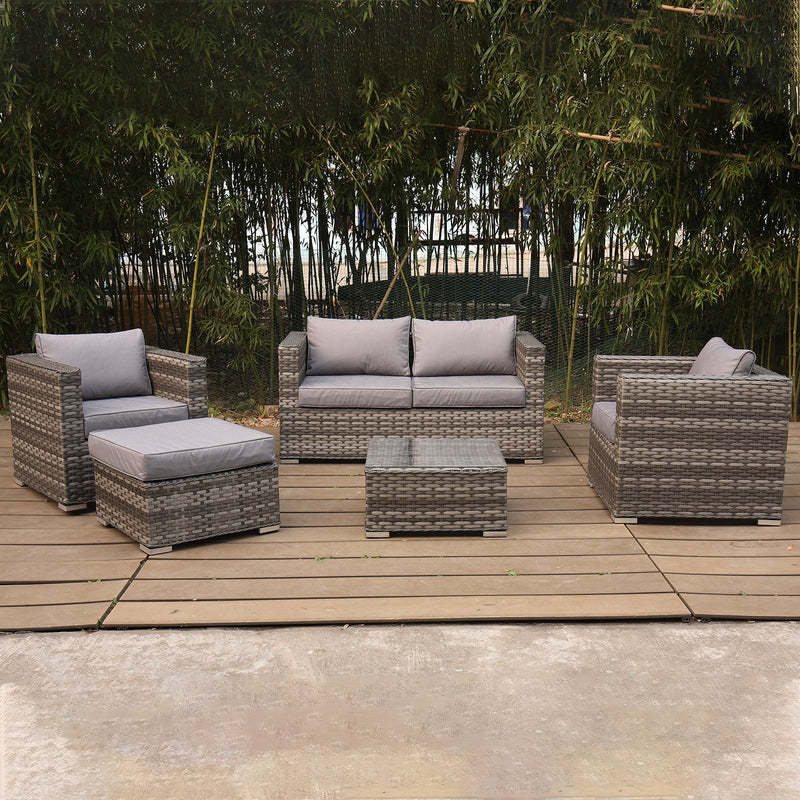 5PC Rattan Sofa, Armchairs, Footrest & Table Furniture Set