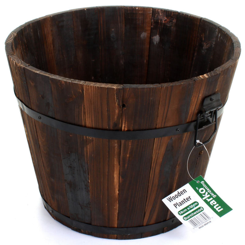 Wooden Planter Burntwood - Round