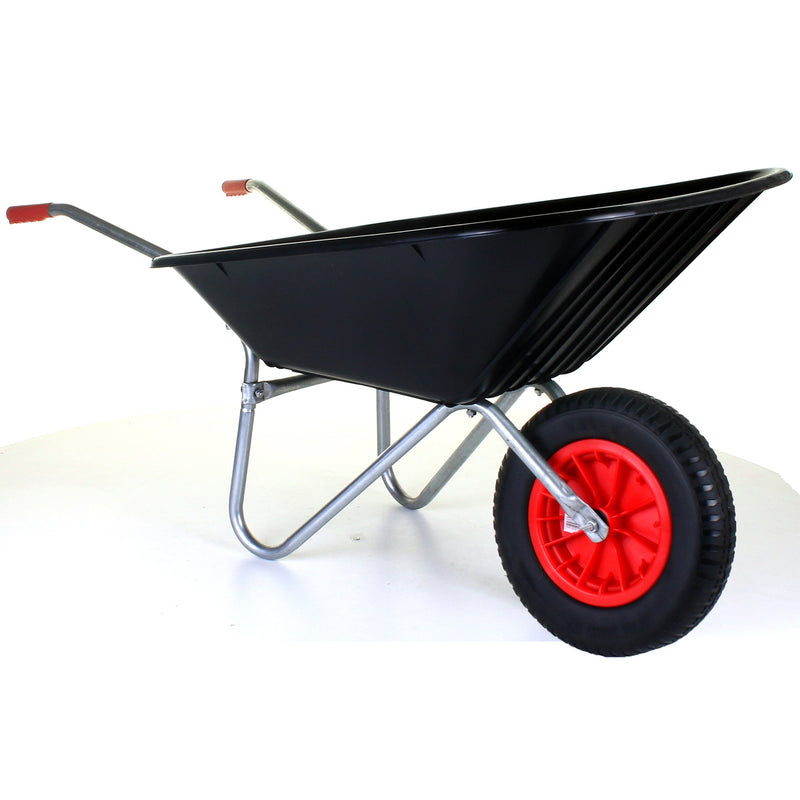 85L Plastic Wheelbarrow - Black - Puncture Proof