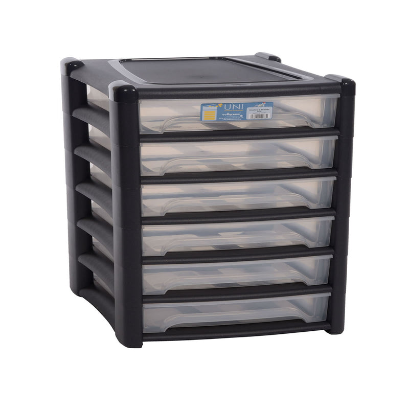 Shallow 6 Drawer Unit Graphite/Clear