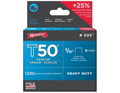 "Arrow T50 Staples 8mm 5/16"" Pack of 1250"