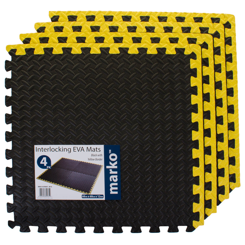 4PK Black/Yellow Interlocking EVA Mats