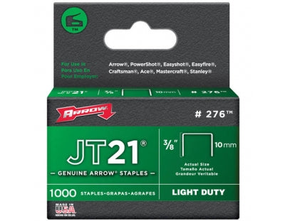 "Arrow JT21 Staples 10mm 3/8 "" Pack of 1000"