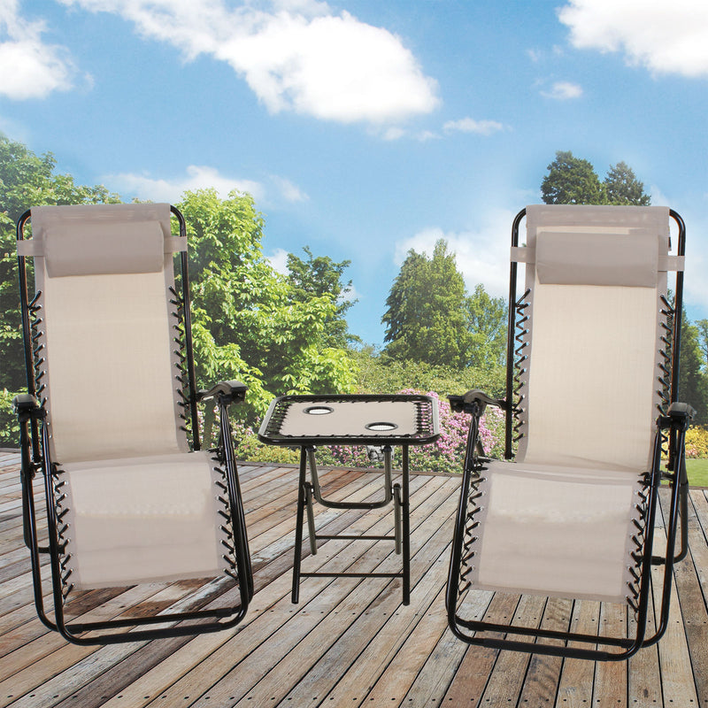 3PC Reclining Sun Lounger Set - Cream