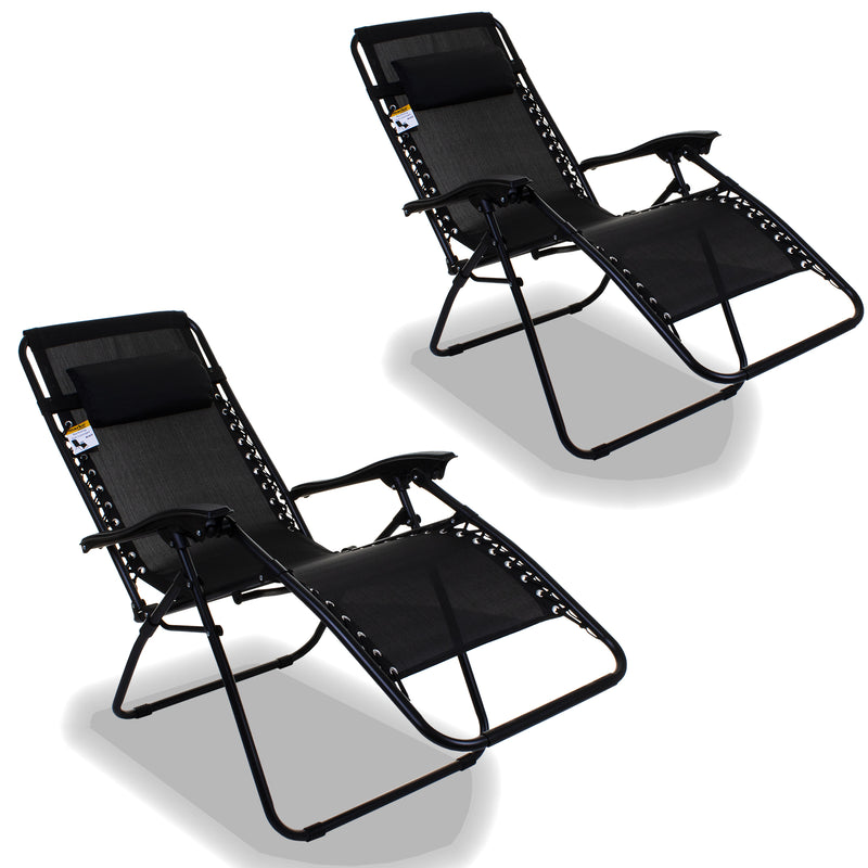 Reclining Sun Lounger - Black