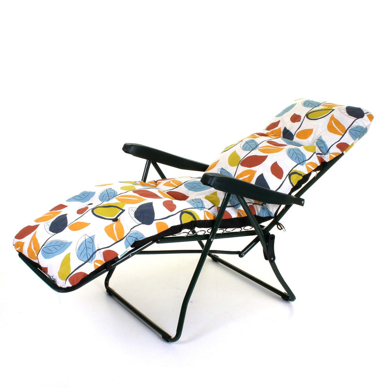 Cushioned Sun Lounger - Leaves