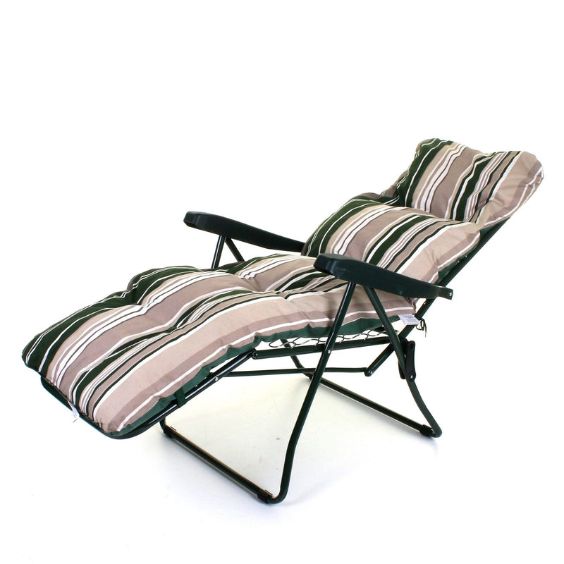 Cushioned Sun Lounger - Green Stripes