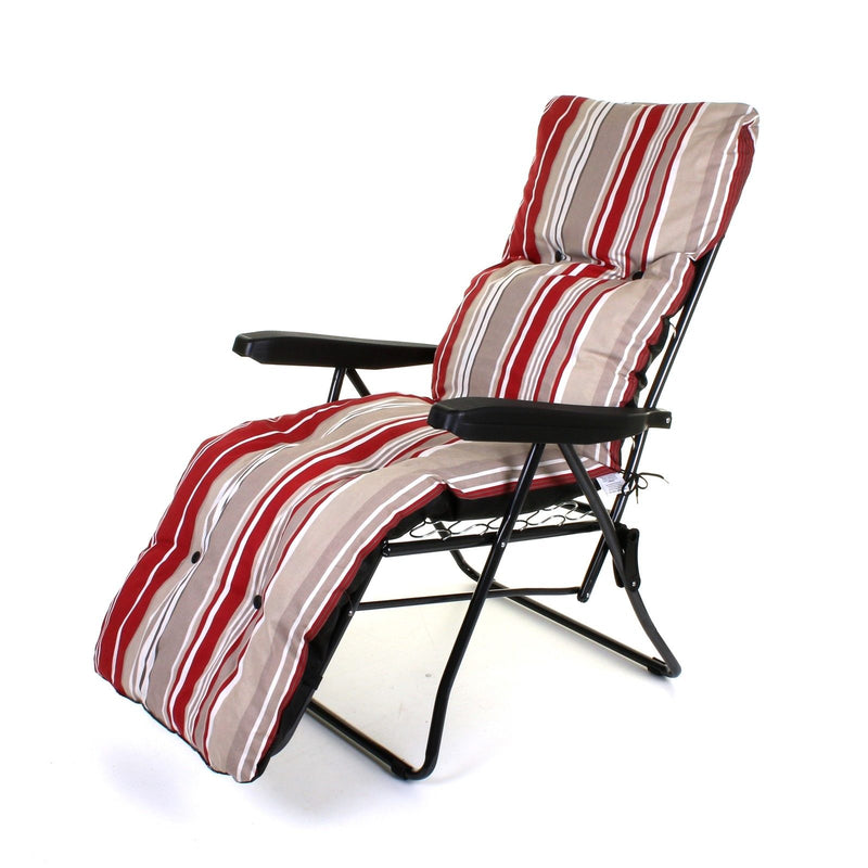 Cushioned Sun Lounger - Red Stripes
