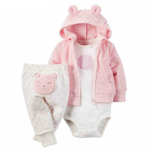 2018 New Baby Clothes 100 Cotton Hooded Coat Pants Romper 3