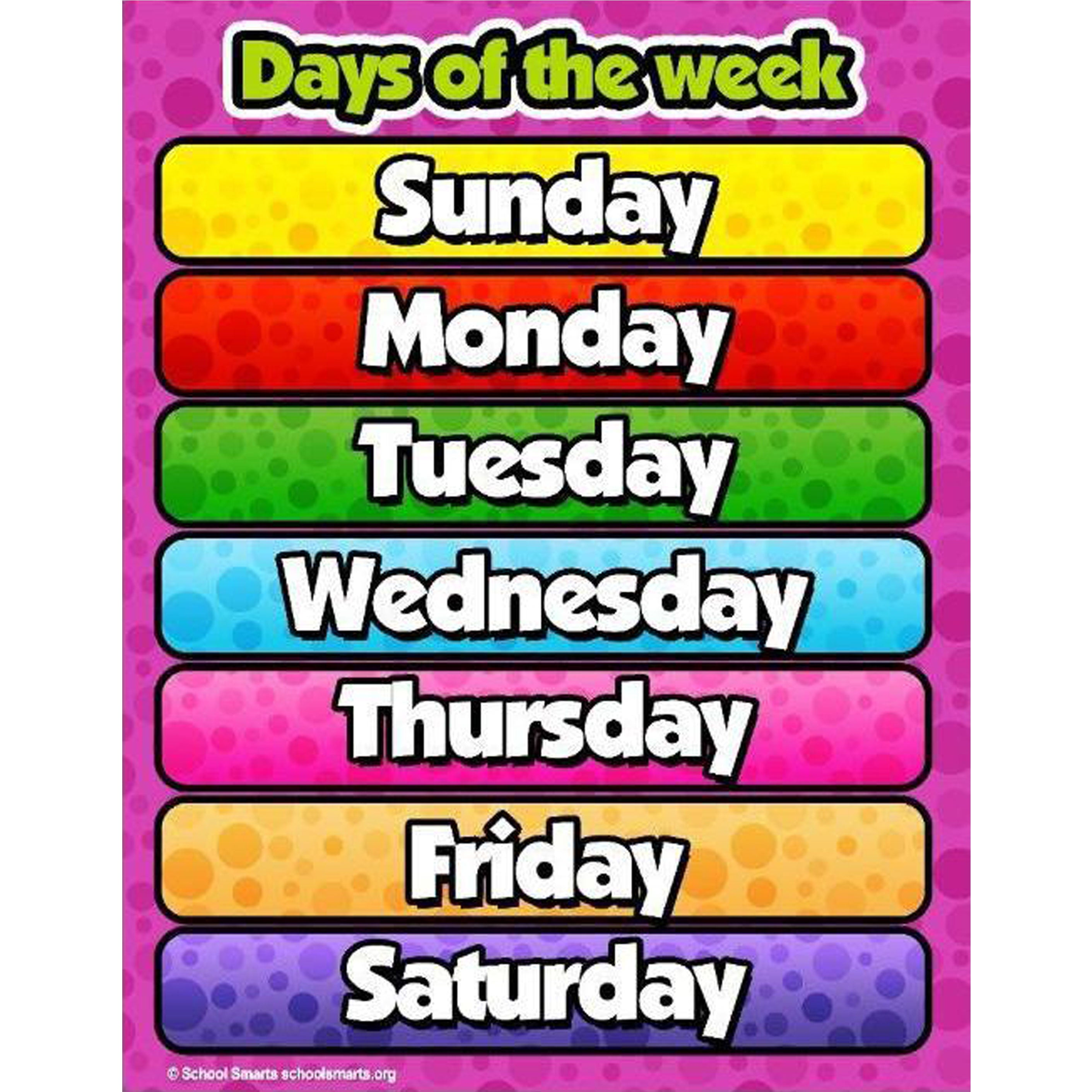 Tear Resistant Laminated Days of the Week Poster | School Smarts