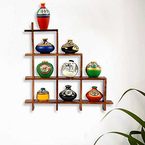 Warli Painted 9 pots with Sheesham Wooden Frame