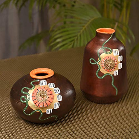 Terracotta Handpainted Home Decorative Metallic Brown Flower vase with Brass Motifs(Set of 2)