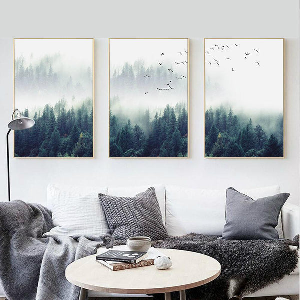 Nordic Forest Canvas Wall Art & Nordic Forest Canvas Art - Ivy and Wilde