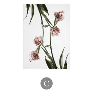 Romantic Pink Flowers Canvas Wall Art