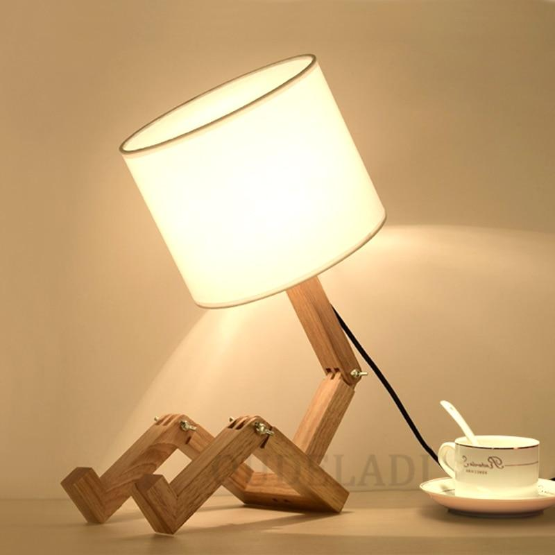 Robot Shape Wooden Table Lamp E14 Lamp Holder 110-240V Modern Cloth Art Wood Desk Table Lamp Parlor Indoor Study Night Light