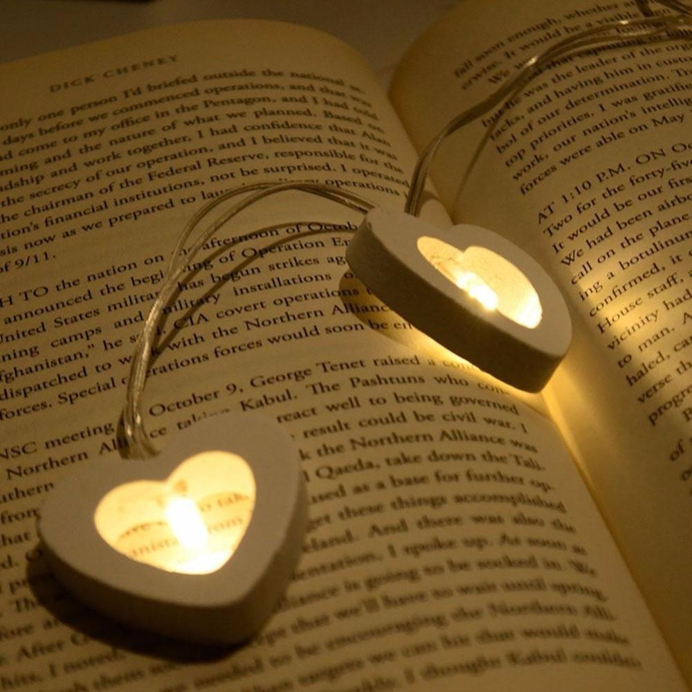Wooden LED Heart String Fairy Light