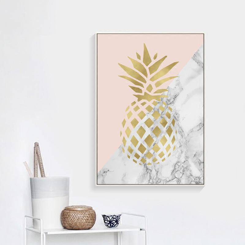 Chic Gold Print Wall Art Canvas