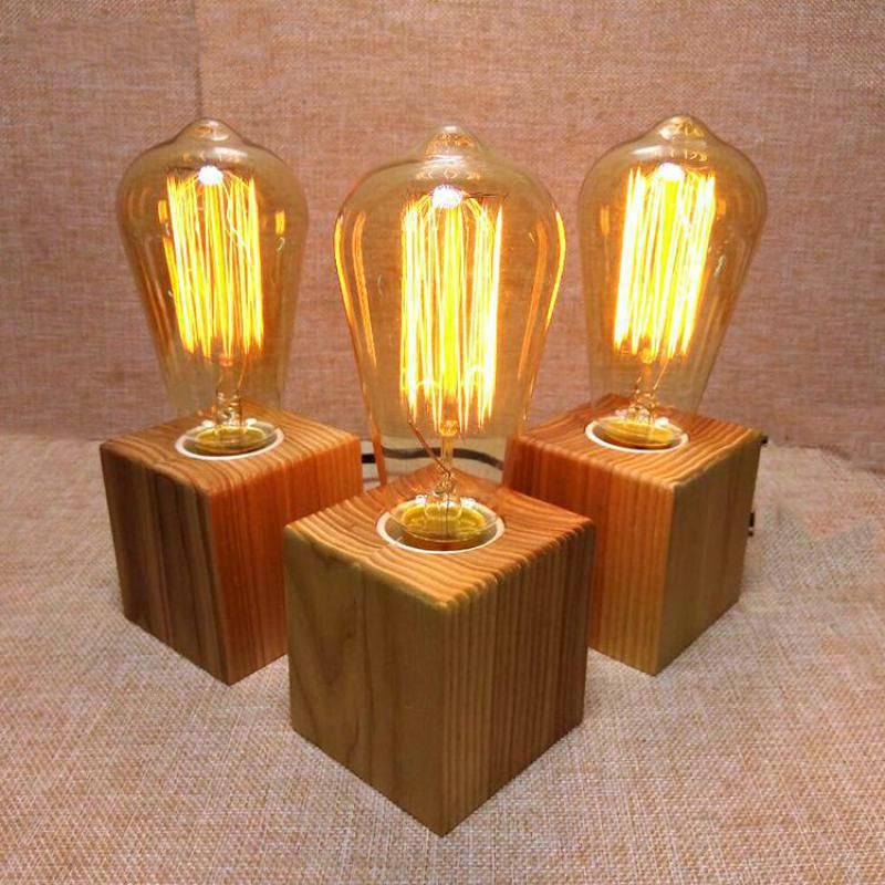 Vintage Wooden Table Lamp