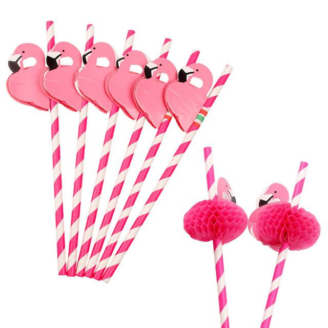 Flamingo Party Drinking Straws (12 Pieces)