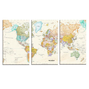 3 panel vintage world map canvas ivy and wilde 3 panel world map canvas wall art gumiabroncs Image collections