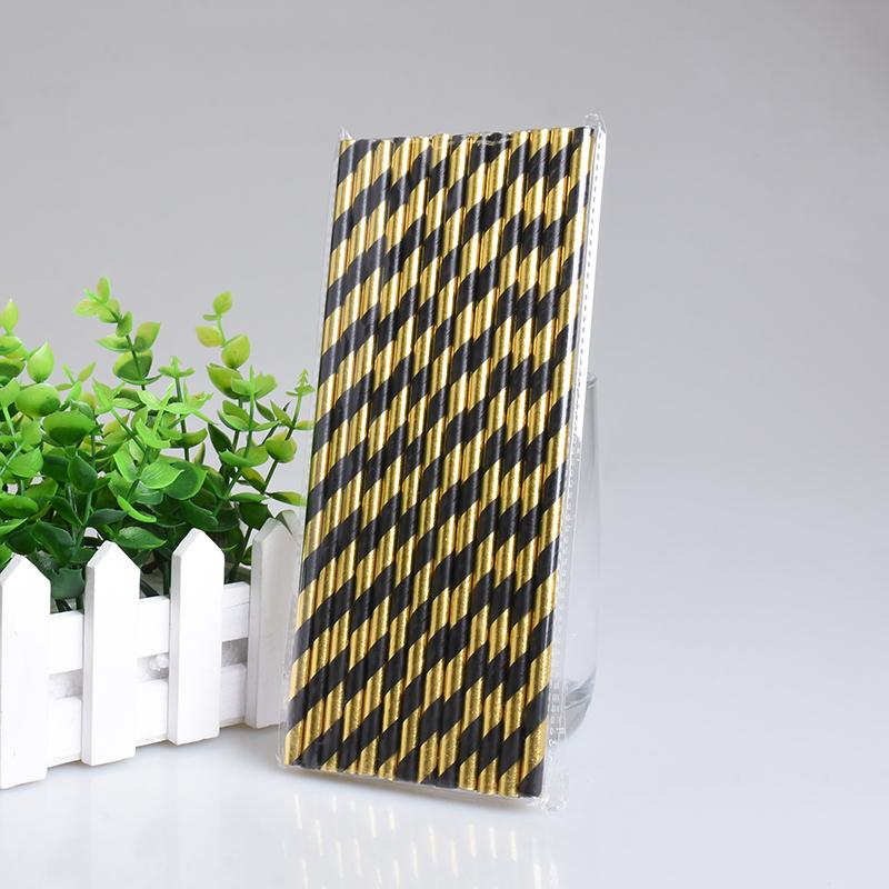 Gold and Black Drinking Straws (25 Pack)