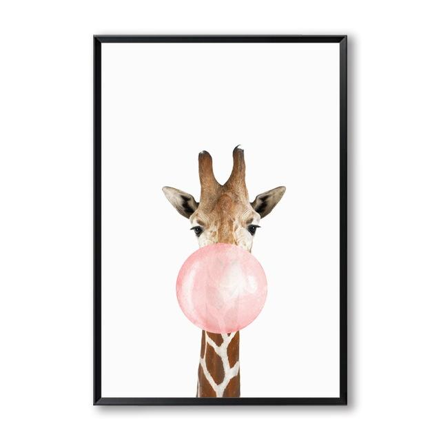 Animals Bubble Gum Art Canvas - Ivy and Wilde