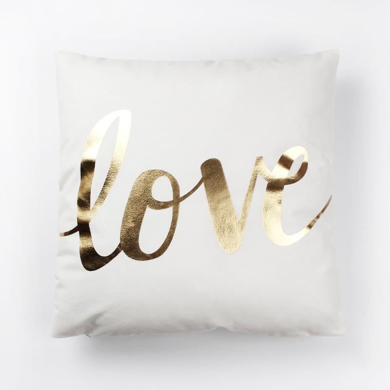 Gold Abstract Cushion Cover