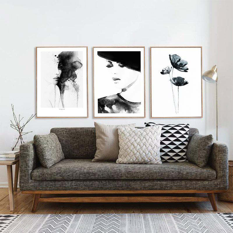Minimalist Feminine Ink Canvas Wall Art