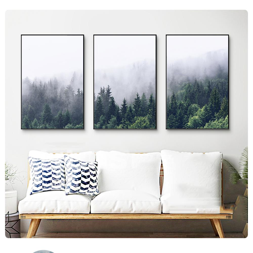 Nordic Green Mountain Canvas Wall Art