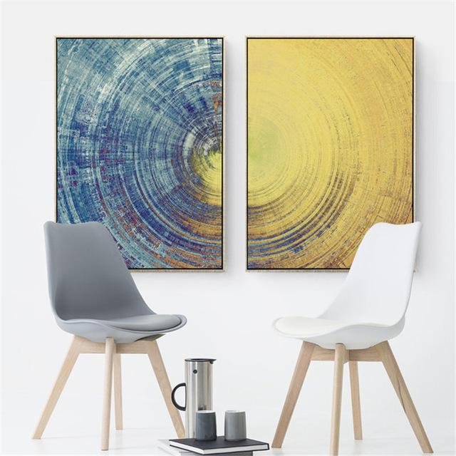 Blue Yellow Abstract Canvas Wall Art