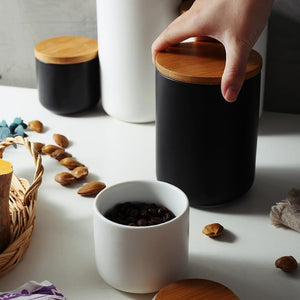 Minimalist Wood Ceramic Storage Jar