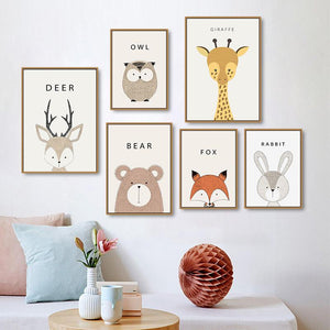 Cartoon Animals Canvas Wall Art