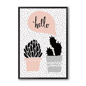 Pink Potted Plants Canvas Wall Art