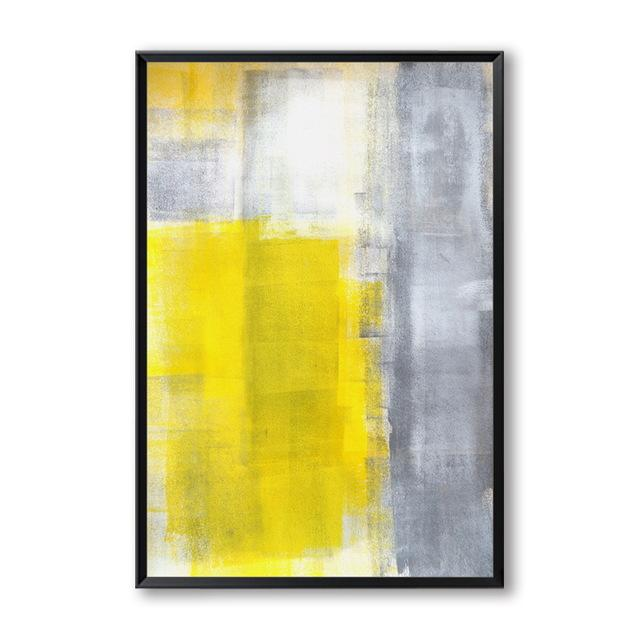 Abstract Yellow Brushed Canvas Wall Art