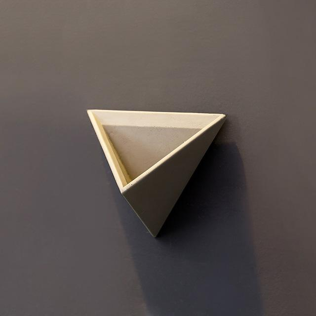 Cement Triangular Wall Vase