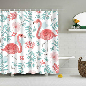 Light Floral Flamingo Shower Curtain