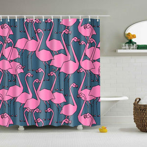 Pink Black Flamingo Shower Curtain