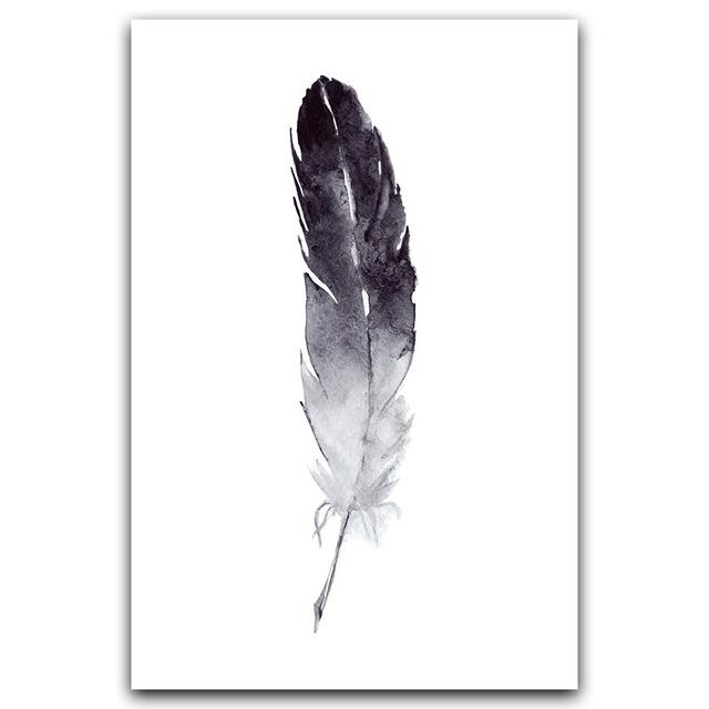 Monochrome Feather Canvas Wall Art