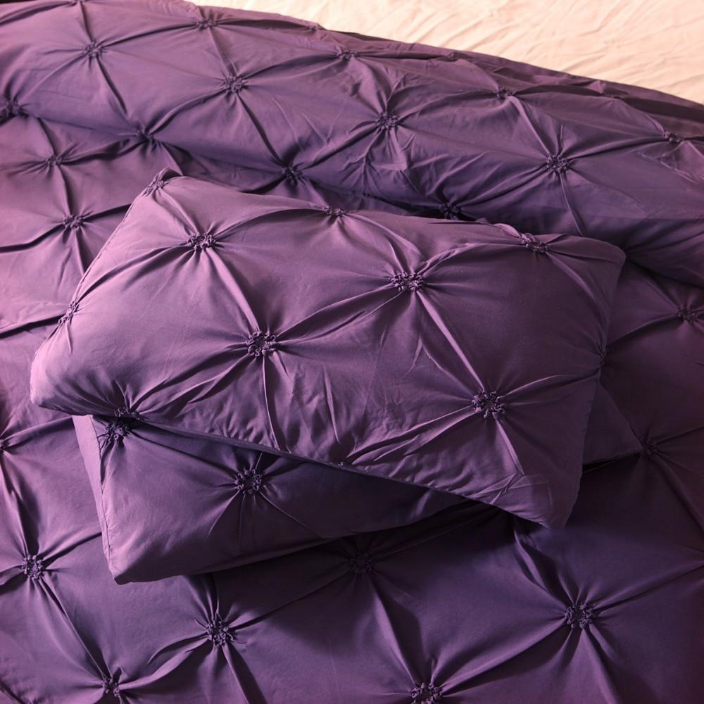 Luxurious Pinch Pleat Bedding Set - Purple
