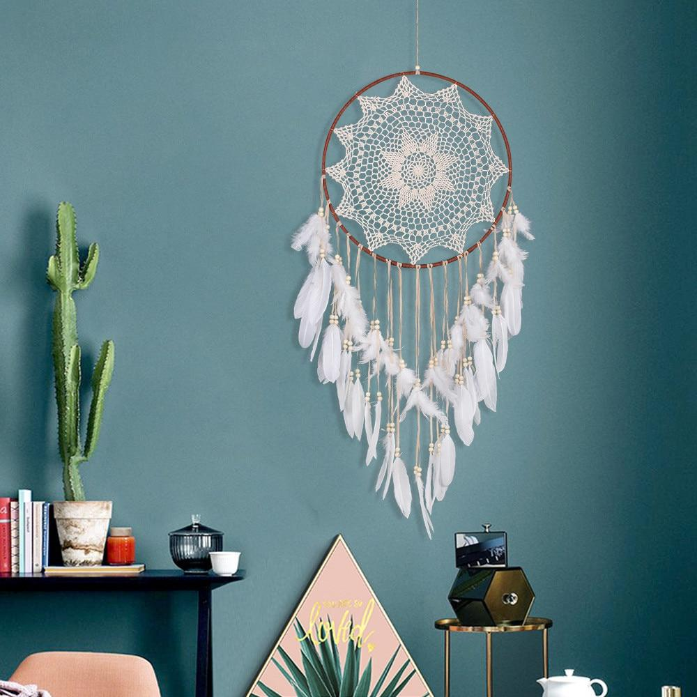 Handmade White Feather Dreamcatcher
