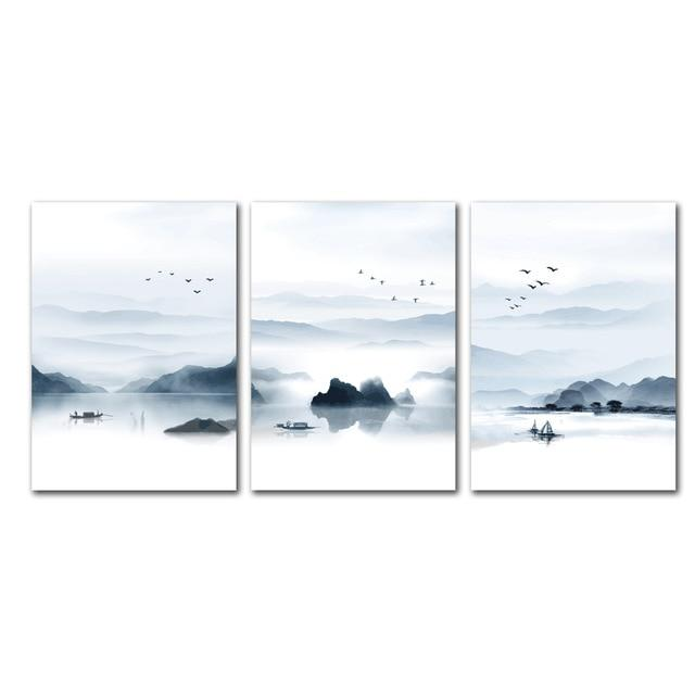 Nordic Lake Landscape Canvas Wall Art