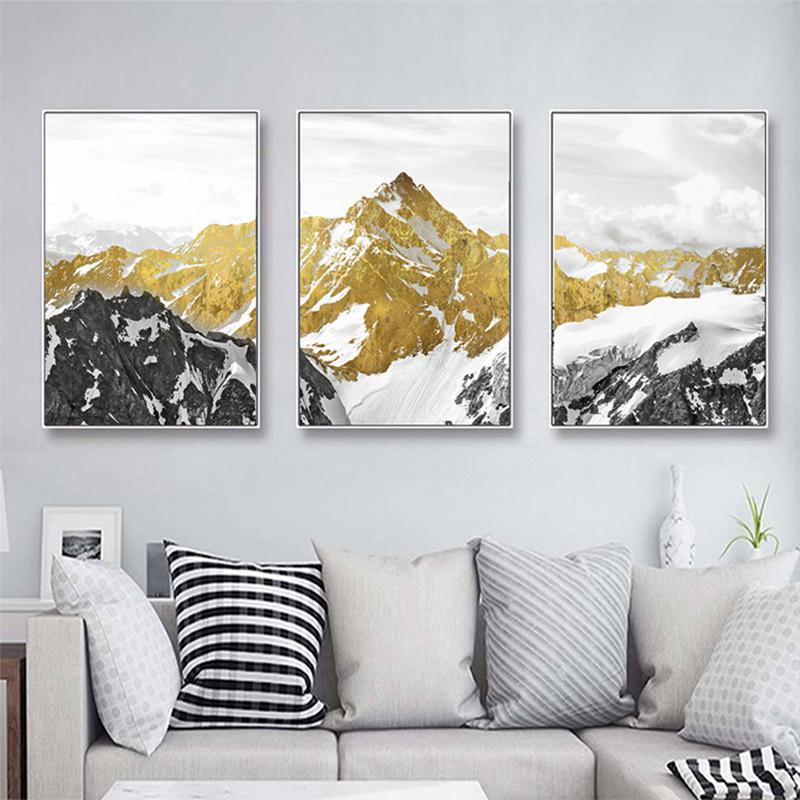 Golden Mountain Canvas Wall Art