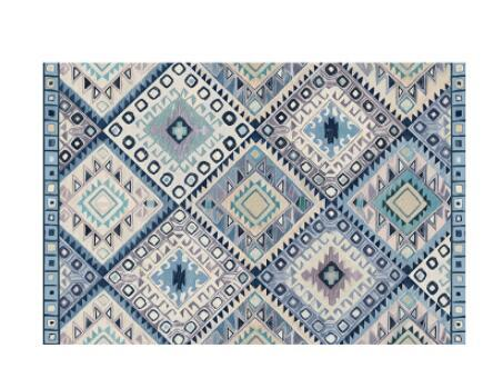 Geometric Moroccan Rugs - Green/White/Red