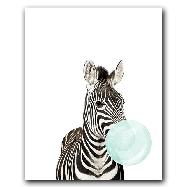 Blue Animal Bubble Gum Canvas Wall Art