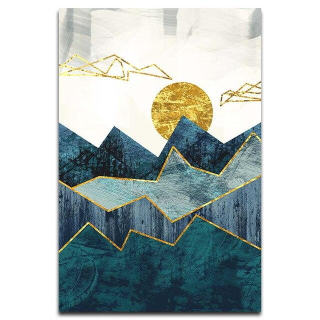 Geometric Mountain Golden Sun