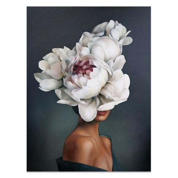 Nordic Flower Girl Canvas Wall Art