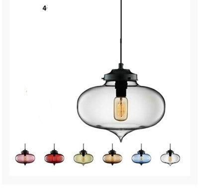 Multi Color Stained Glass Pendant Light