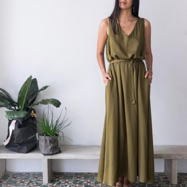 Green Northern V Neck Maxi Dress