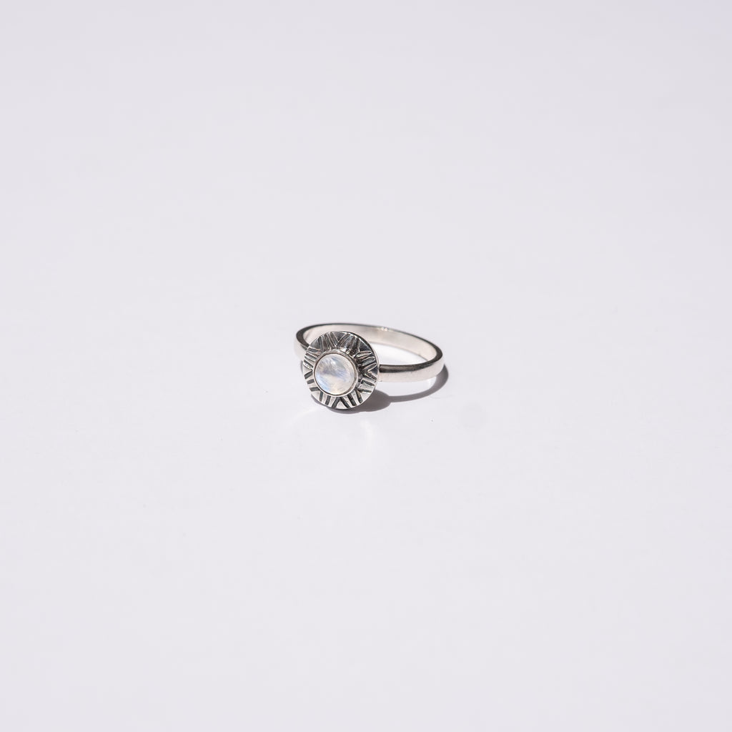 Sol Moonstone Silver Ring